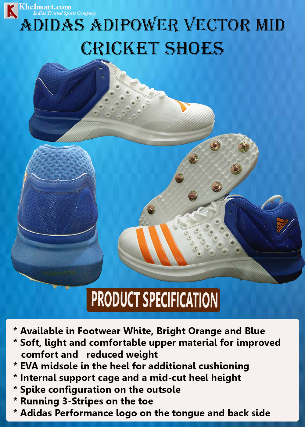 ADIDAS ADIPOWER VECTOR MID CRICKET SHOES_2