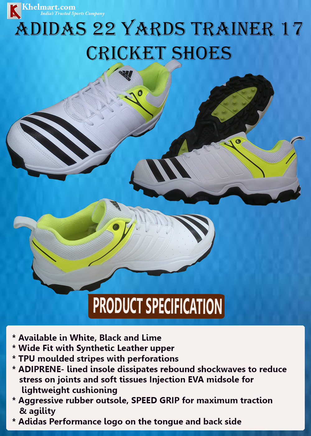 Adidas 22 YARDS TRAINER 17 Full Stud Cricket Shoes_5