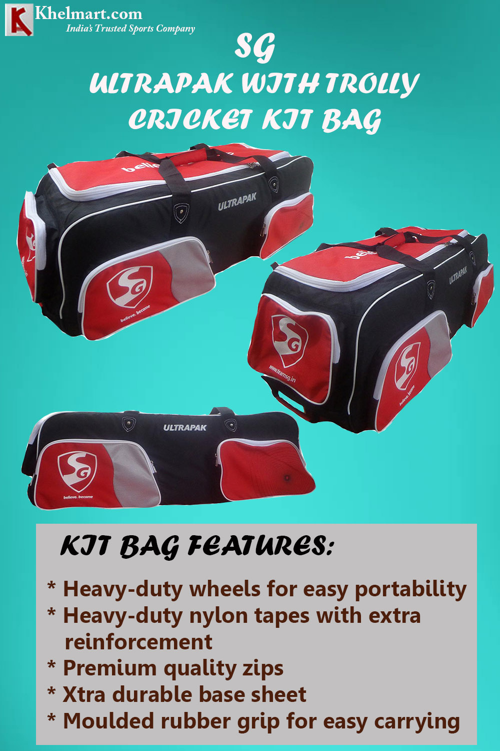 SG Ultrapak with trolly CRICKET KITBAG