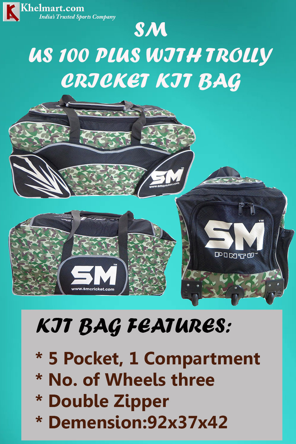 SM US 100 Plus Cricket Kit Bag