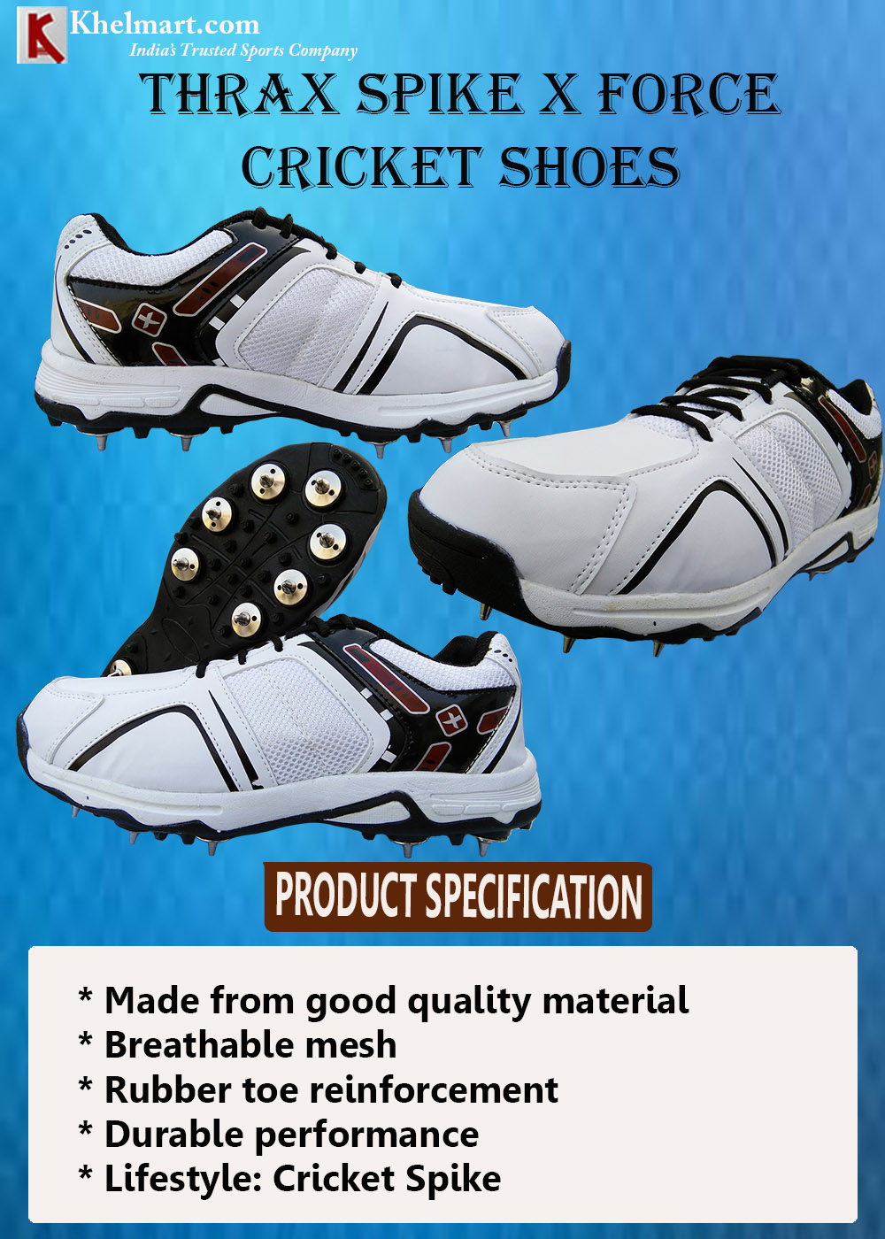 Thrax Spike X Force Cricket Shoes_10