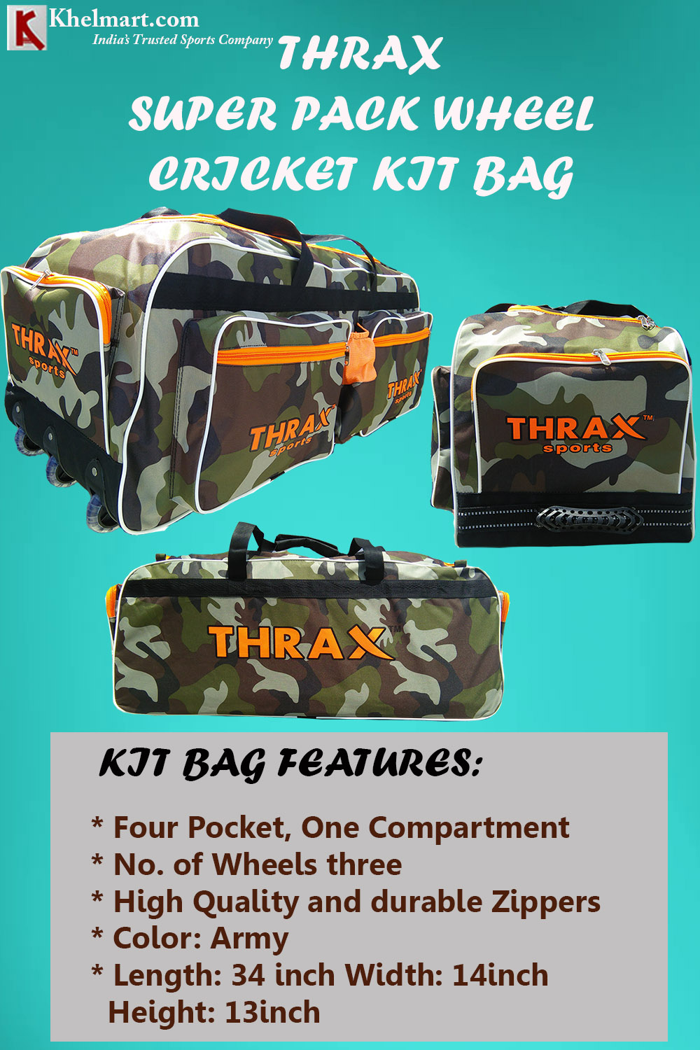 Thrax Super Pack Wheel Cricket Kit Bag