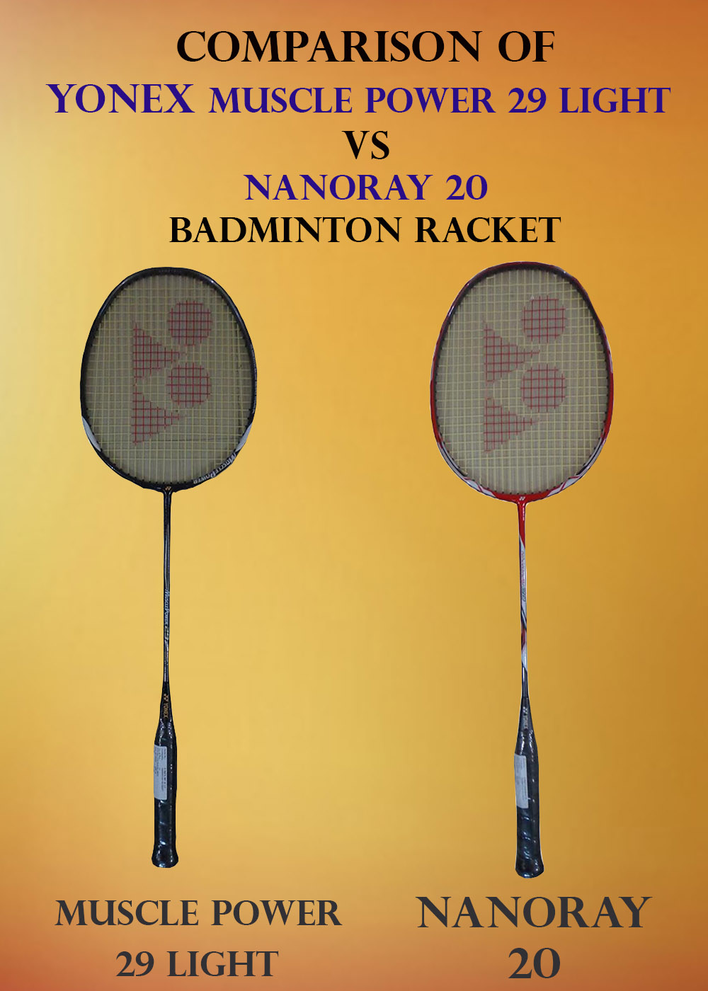 COMPARISON OF YONEX NANORAY 20 VS YONEX MP 29 LIGHT RACKET_2