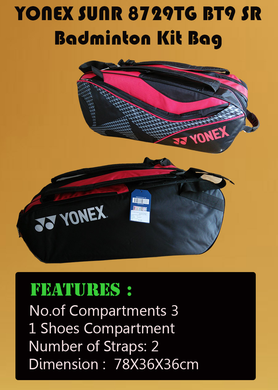 YONEX Sunr 8729TG BT9 SR Badminton Kit Bag Black and Red_4