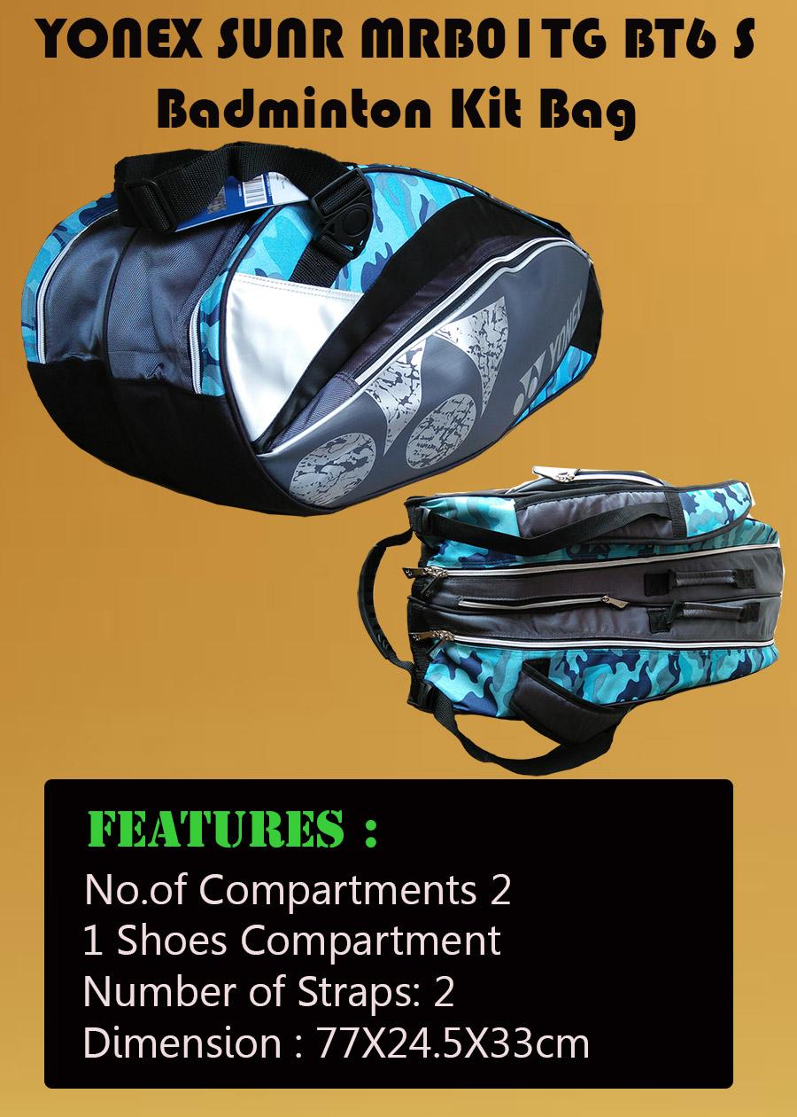 YONEX Sunr MRB01TG BT6 S Badminton Kit Bag Black and Blue_2