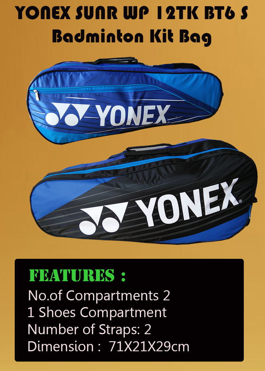 YONEX Sunr WP 12TK BT6 S Badminton Kit Bag Navy blue and Black_6