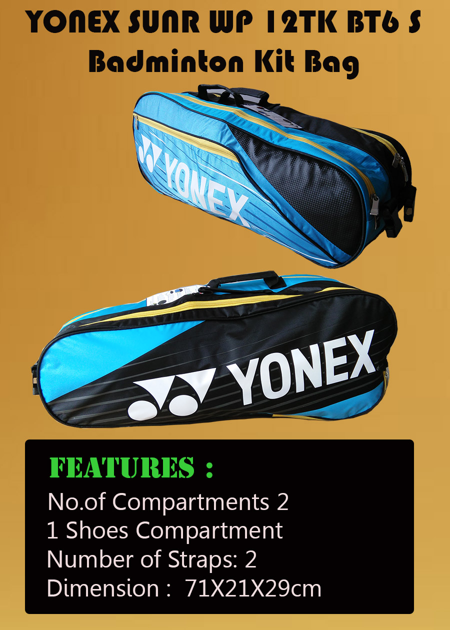 YONEX Sunr WP 12TK BT6 S Badminton Kit Bag Sky blue and Black_5