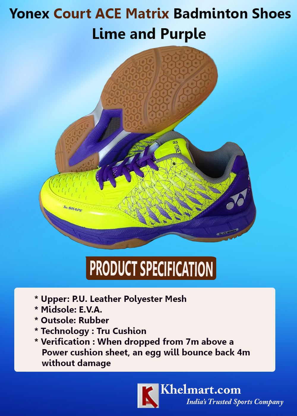 Yonex Court ACE Matrix Badminton Shoes Lime and Purple_2