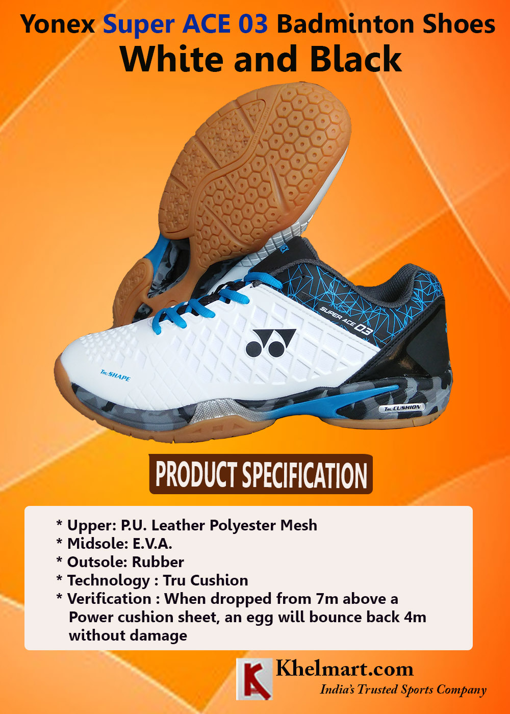 Yonex Super ACE 03 Badminton Shoes Coral White and Black_4