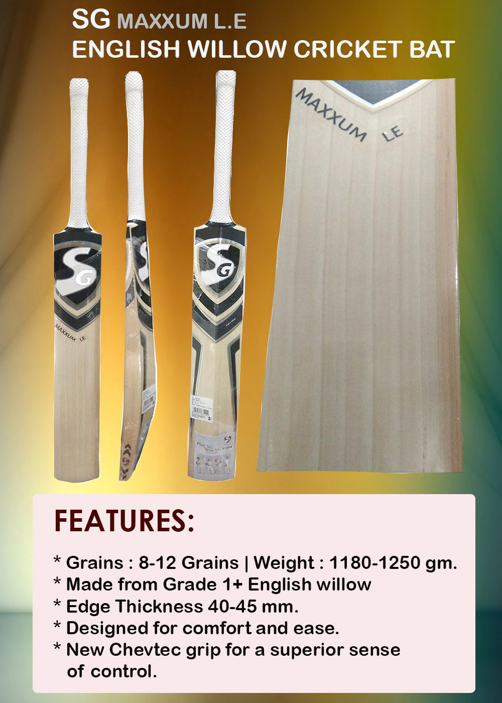 SG Maxxum LE English Willow Cricket Bat_7