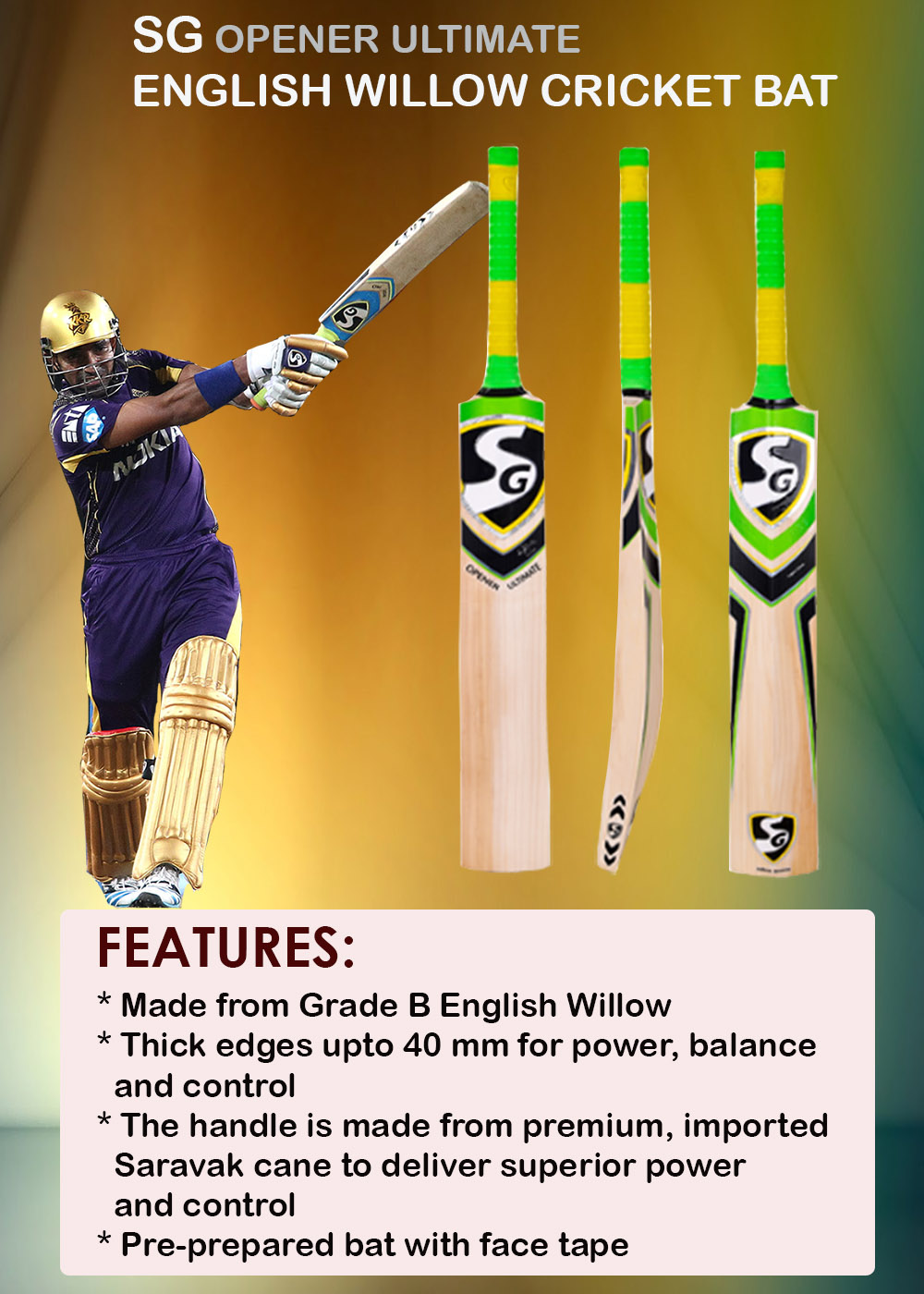 SG Opener Ultimate English Willow Cricket Bat_8