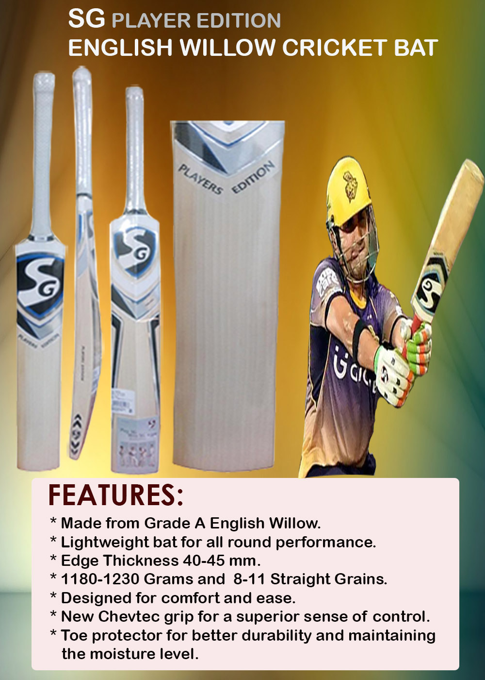 SG Players Edition Eng lish Willow Cricket Bat_6