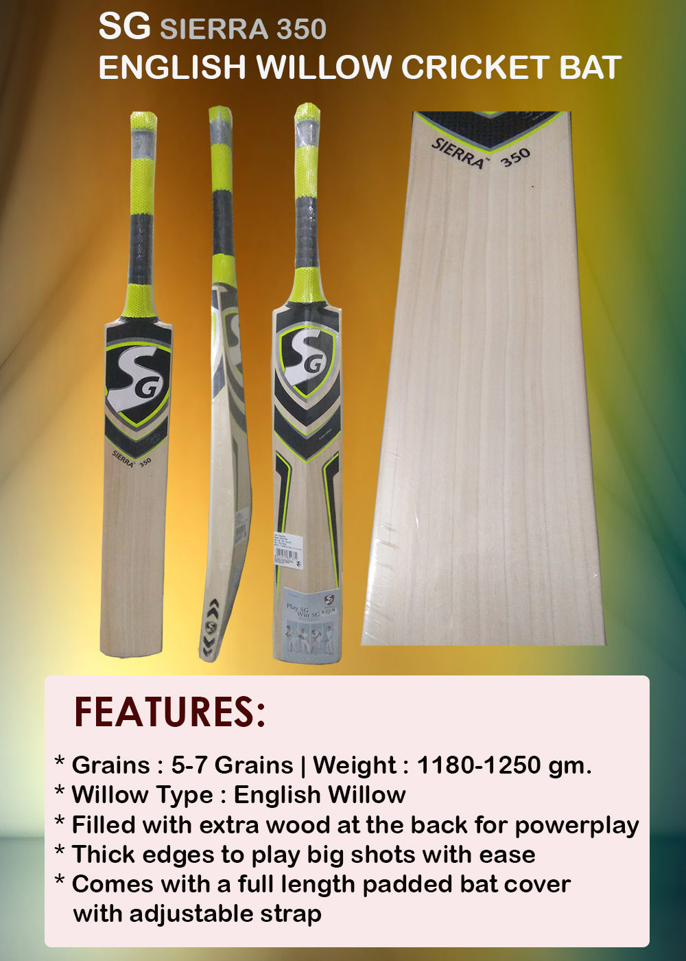 SG Sierra 350 English Willow Cricket Bat_9