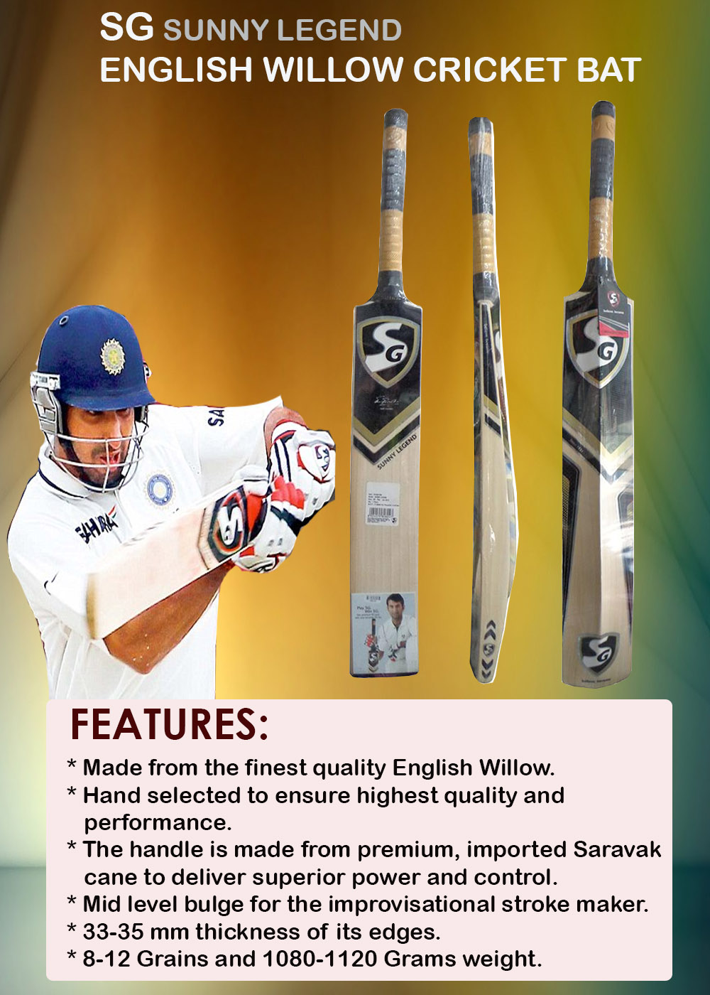 SG Sunny Legend English Willow Cricket Bat_5