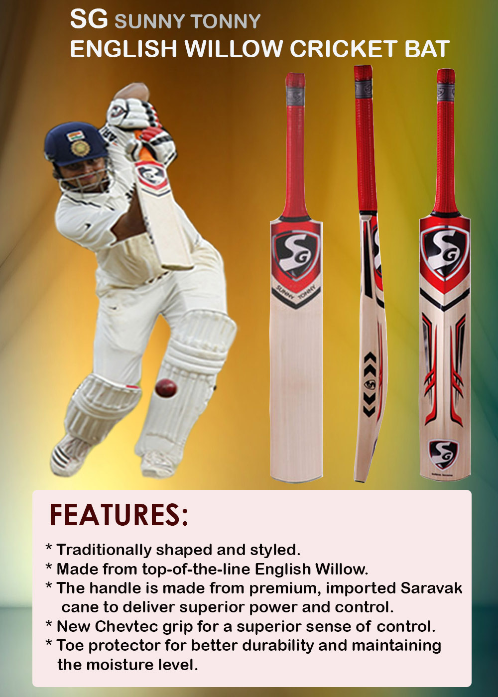 SG Sunny Tonny English Willow Cricket Bat_3