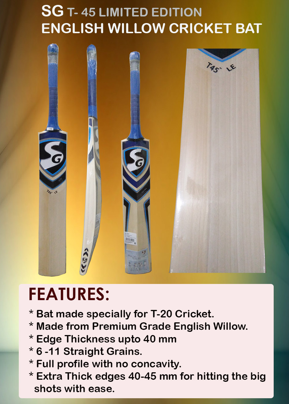 SG T 45 Limited Edition English Willow Cricket Bat_10
