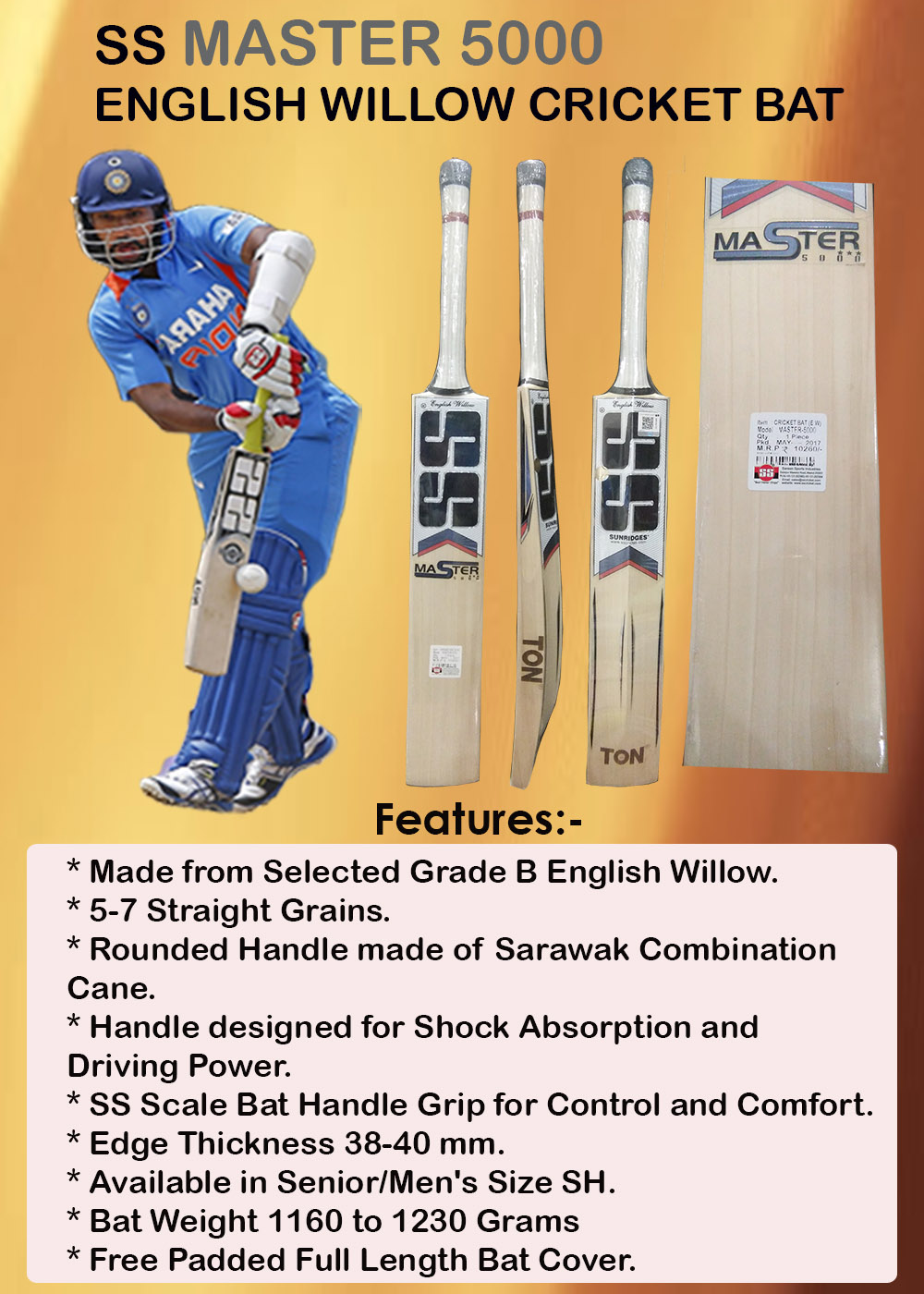 SS Master 5000 English Willow Cricket Bat_7