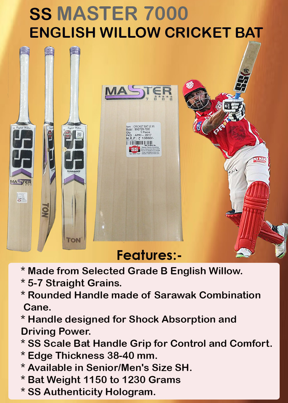 SS Master 7000 English Willow Cricket Bat_6