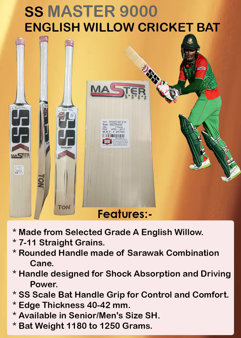 SS Master 9000 English Willow Cricket Bat_5