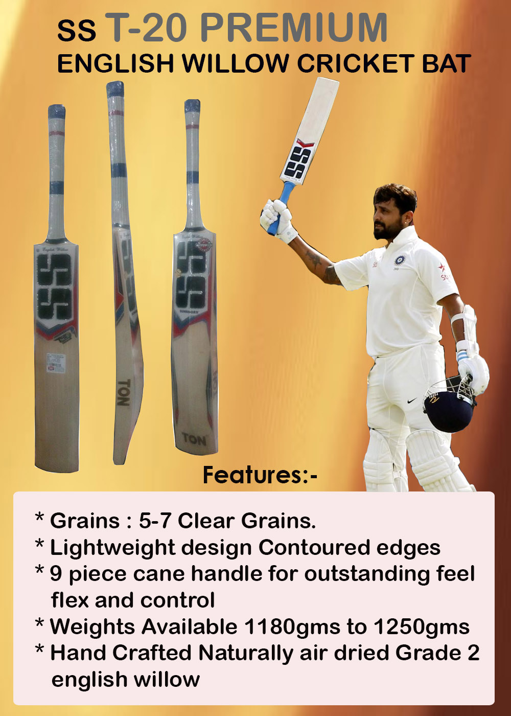 SS T20 Premium English Willow Cricket Bat_9