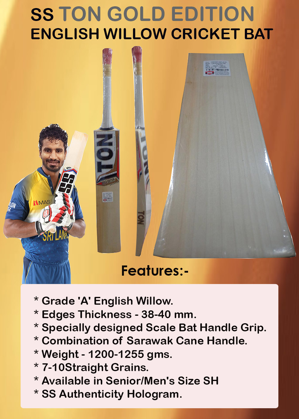 SS Ton Gold Edition English Willow Cricket Bat_4