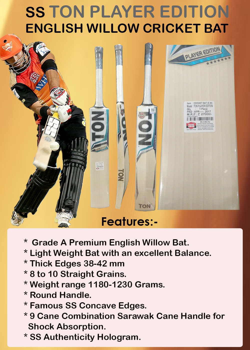 SS Ton Player Edition English Willow Cricket Bat_2