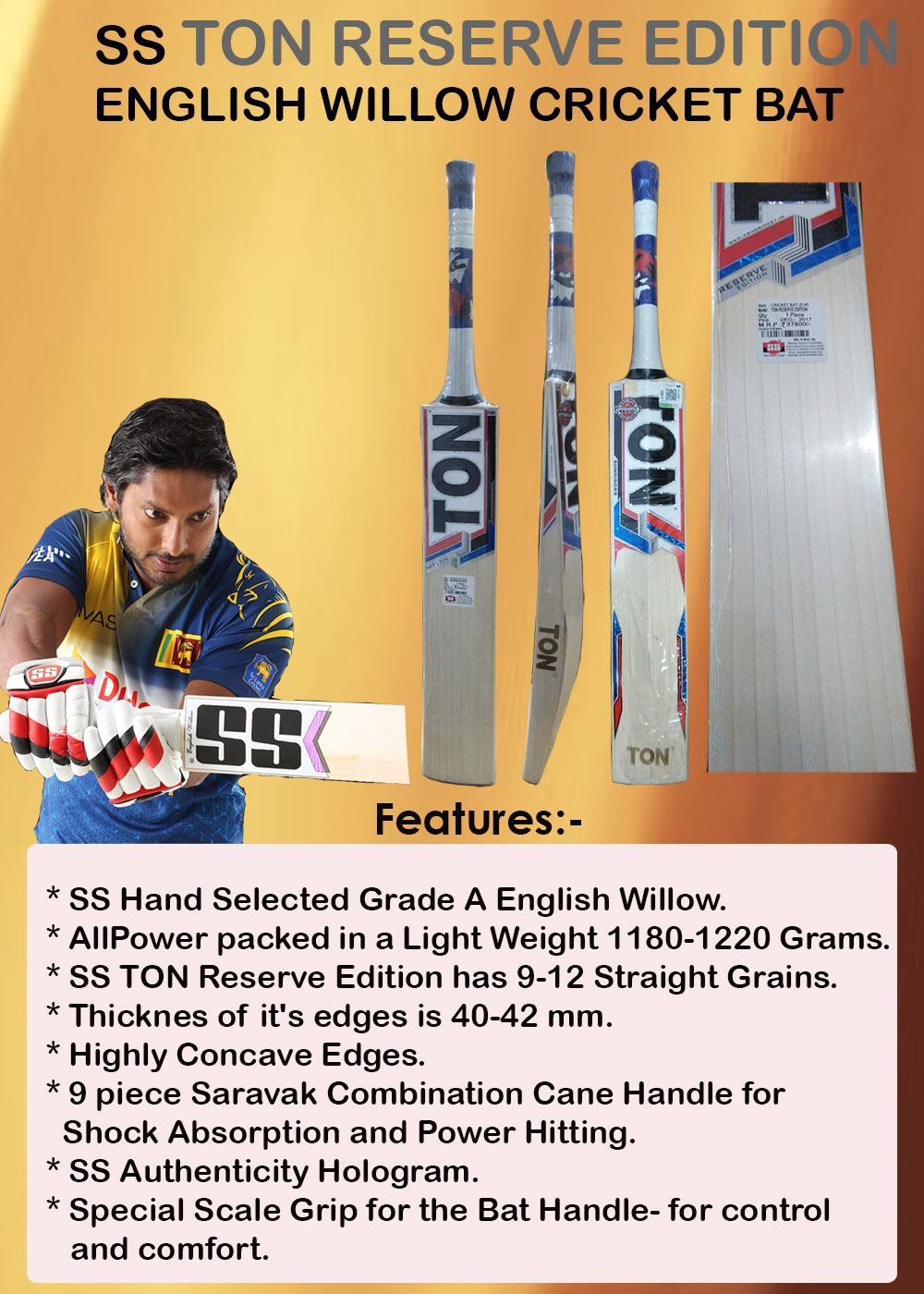 SS Ton Reserve Edition English Willow Cricket Bat_1