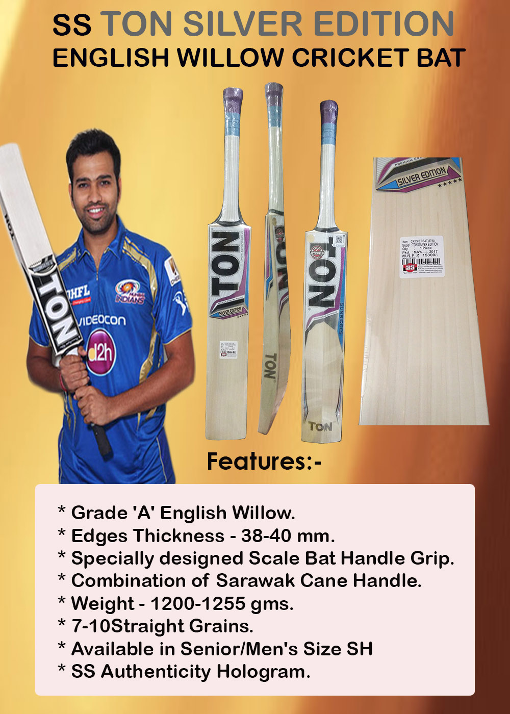 SS Ton Silver Edition English Willow Cricket Bat_3