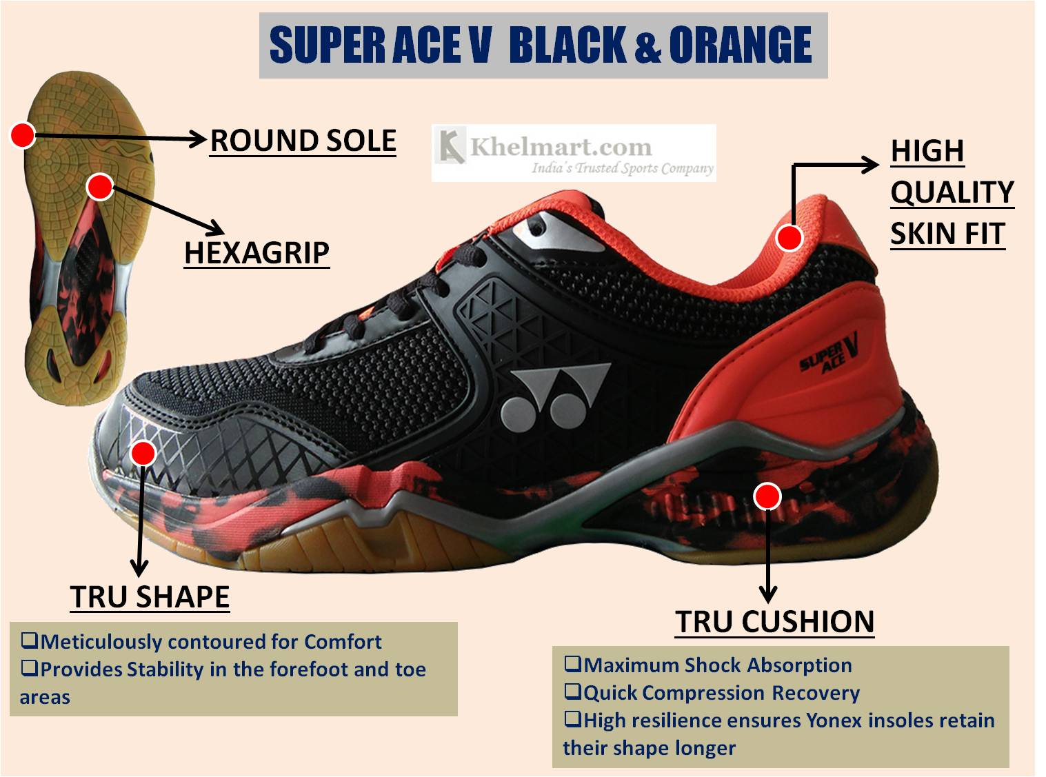 Yonex Super ACE V Badminton Shoes Black and Orange_4