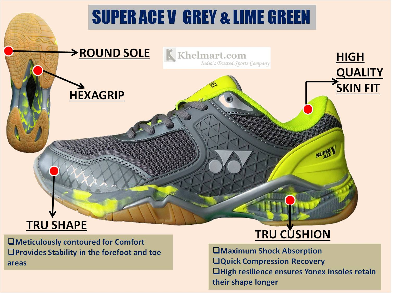 Yonex Super ACE V Badminton Shoes Grey and Lime Green_3