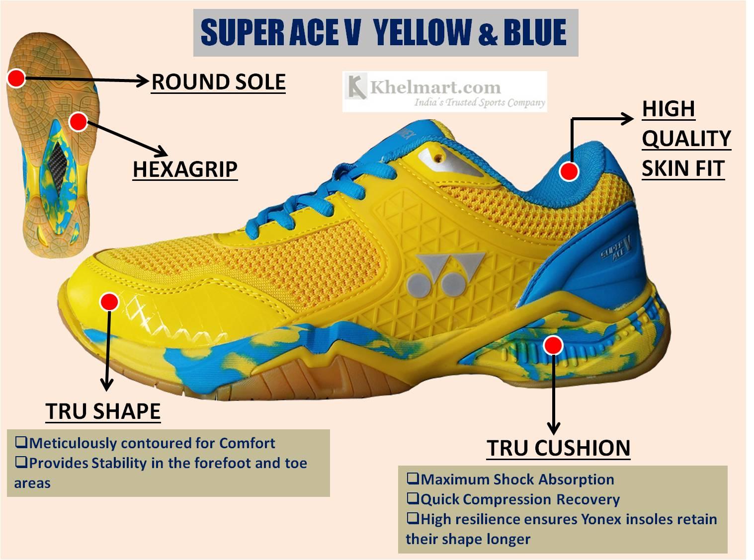 Yonex Super ACE V Badminton Shoes Yellow and Blue_1